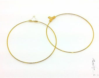2-wire earrings hoop earrings 5 cm gold metal with locking system