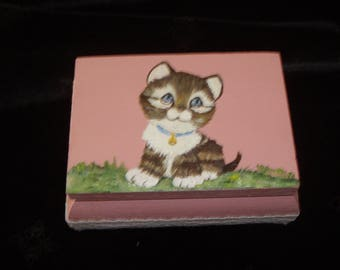 "SMALL wooden box kids decorated ""kitten"""