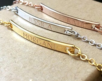 Personalized Bar Bracelet, Name Bracelet, Custom Bracelet Engraved, Nameplate Bracelet, Skinny Bar Bracelet, Bridesmaid Gift