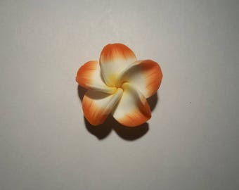 large flowers polymer clay orange and white 35 mm