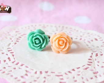 Bronze rings DUO - peach Roses and green duck