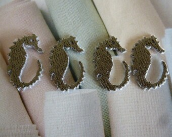 4 appliques small grey hyppocampes silver patch, patches for sewing decoration and accessories