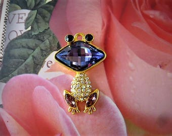 Pendant 34 mm frog mouth Lavender rhinestone and Crystal AB rhinestone body and gold