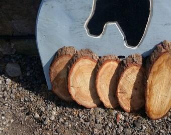 Rustic cross cut wood slices