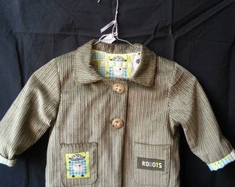 Jacket with corduroy lined with cotton collar