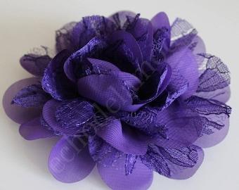 Chiffon flower and lace purple diameter 10 cm