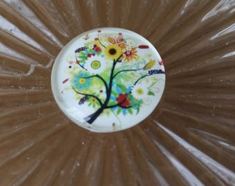 1 cabochon glass round 25 mm illustrated floral tree ref41