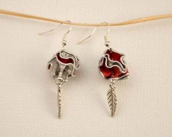 Earrings in coffee capsule beads and leaf charm - choice of colors
