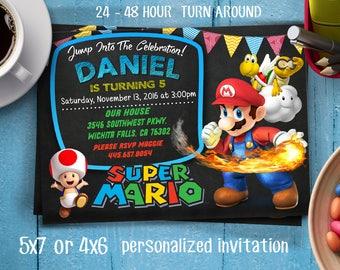 Super Mario Brothers Birthday Invitation,Super Mario Bros Birthday Invitation, SUPER MARIO INVITATION,Super Mario Brother Invitation