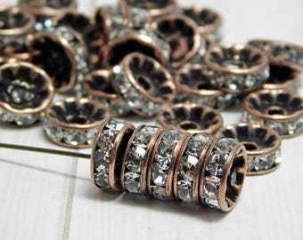 Antique Copper Rhinestone Rondelles - Rhinestone Spacers - 10mm Spacers - Crystal Spacers - Rhinestone Rondelles - 25pcs (3344)