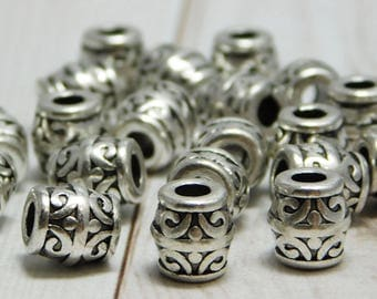 20pcs - 8mm - Drum Beads - Barrel Beads - Metal Beads - Silver Beads - Antique Silver - Large Hole Beads - (2161)