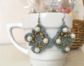 Crochet Earring Accessories with Beads Pink Blue Green Ready to Ship