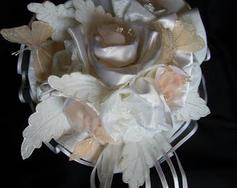 Bouquet bridal flowers and butterflies in silk