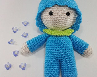 Turquoise baby amigurumi cotton 14 cm