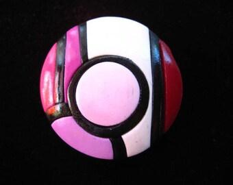 "Large fancy ring ""Mondrian"" fushia/plum with polymer clay (Fimo)"