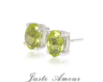 14k Gold Natural Peridot Earring