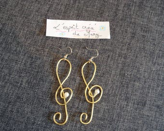 Earrings music treble clef for the musicians design