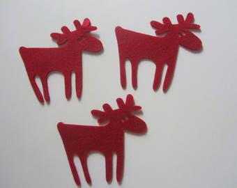 Set of 3 large reindeer in red felt - by Artemio