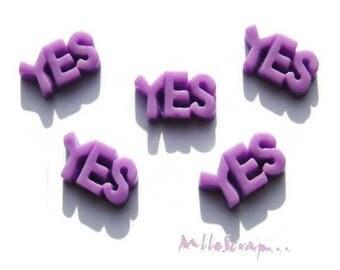 Set of 5 YES!  Violet resin embellishment scrapbooking