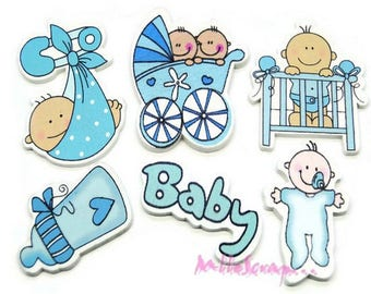 "Set of 6 embellishments special ""baby boy"" blue wood scrapbooking.*"