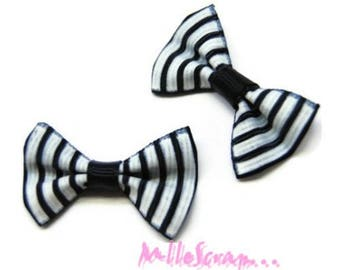 Set of 5 black embellishment scrapbooking carterie.* striped bows