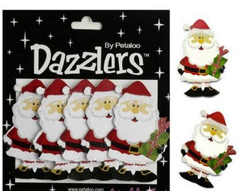 "Set of 5 Santa Claus paper 3D ""dazzlers"" Petaloo scrapbooking.* embellishment"