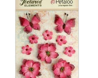 Set of 10 ornaments flowers fuschia butterflies fabric from Petaloo scrapbooking embellishment *.
