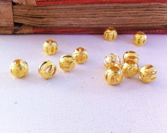 5 finely etched and frosted beads openwork gold metal