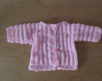 Cardigan open front baby 0/3 months in pink or red