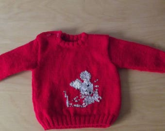 Baby 3 Red jacquard Wool Sweater / 6 months