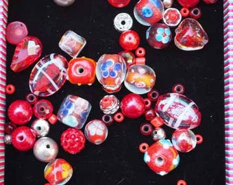 Set of 40 different styles, oval, round, flat, heart glass beads clear Red and dark shades