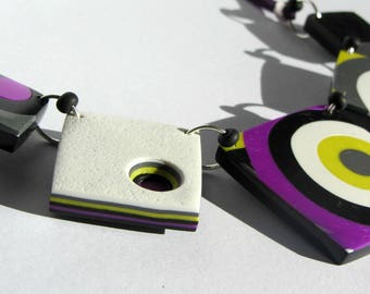 Polymer clay, square necklace.