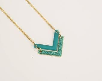 Turquoise Chevron - jewelry enamel necklace