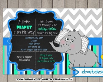 Custom Elephant Baby Shower Invitation- Printable file- It's a Boy Baby Shower Invite
