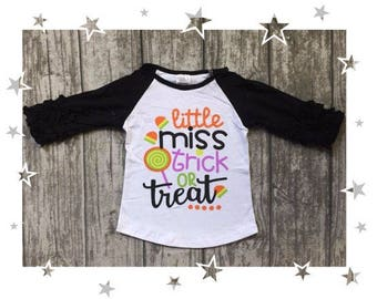 Girls Miss Trick Or Treat Halloween Raglan Shirt
