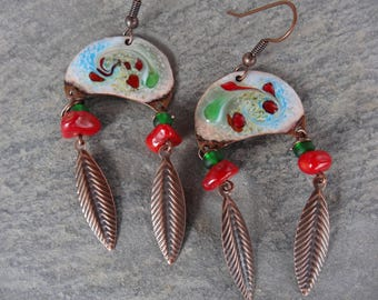 """Earrings """"Indian"""" ethnic tribal - sterling silver enamel plate, glass beads and gemstone"""