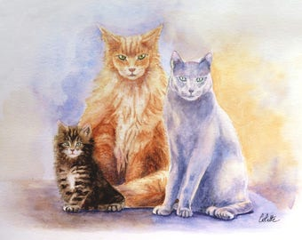 Portraits in watercolor of three adorable cats