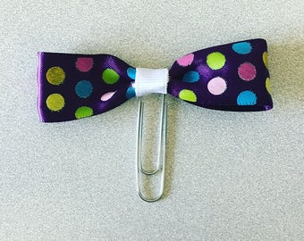Purple Polka Dots Bow Planner Clip S3