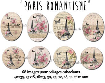 "Digital images for cabochon jewelry ""Paris romance"" digital collage"