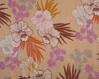 Fabric chiffon silk flowers beige background