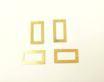 2 pendants 32.5 gold raw brass rectangles * 18.5 mm