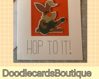 Hop to it Rabbit Card - birthday card, easter card