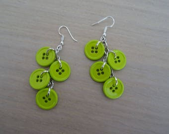 Buttons earrings lime green