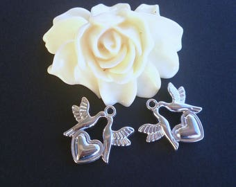 10 pendants Charm's acrylic Dove with the heart Silver (41)