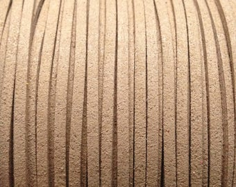Suede 5 m wire imitation 49 Tan suede leather lace