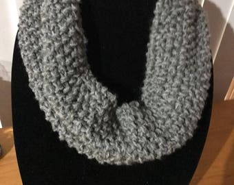 Cowl chunky knitted Snood grey acrylic cold machine washable