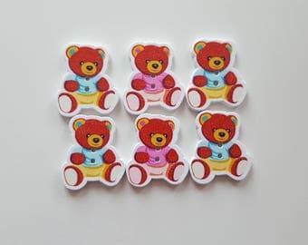 Set of 5 little bear wooden buttons