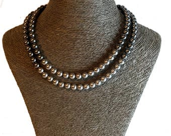 Pearl Necklace, Double Strand Pearl Necklace, Grey Necklace, Statement Jewellery,  Grey Pearl Necklace, Statement Necklace