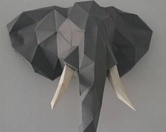 Elephant head 3d paper DIY