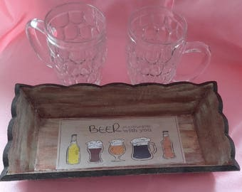 Tray and two beer mugs